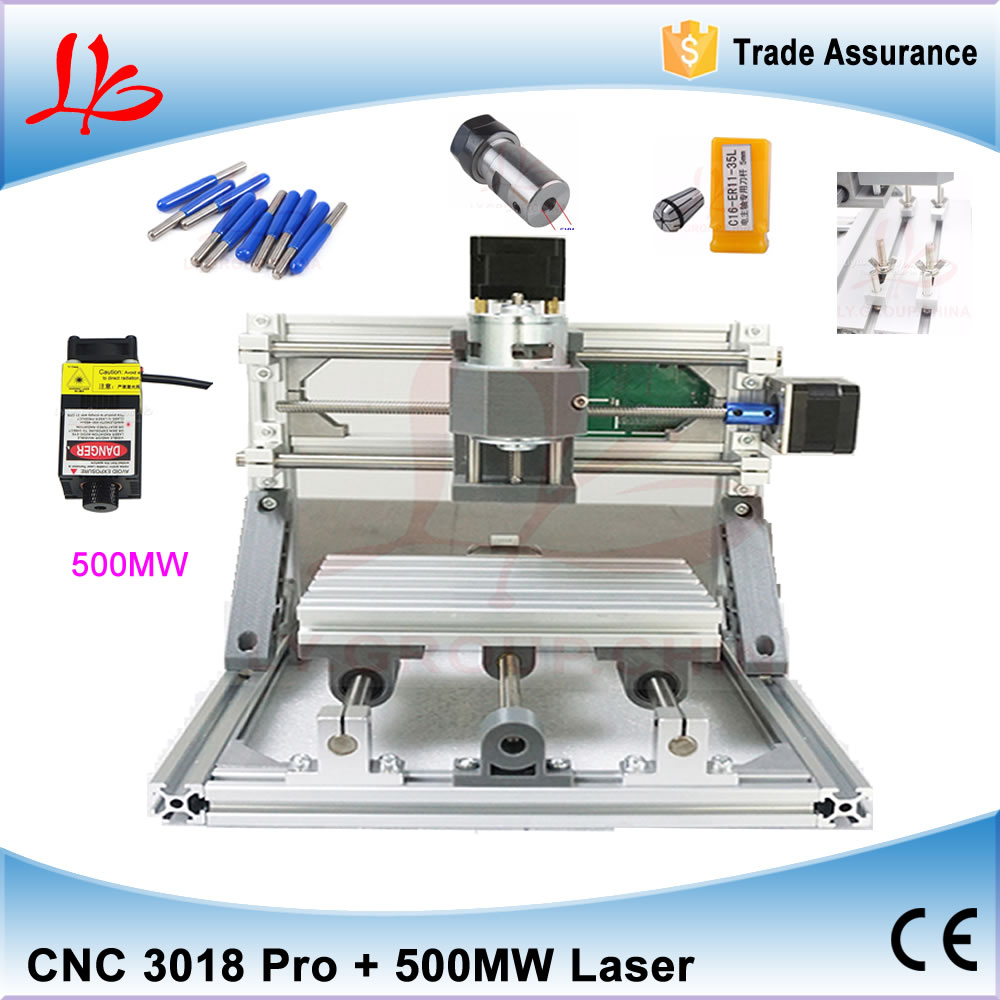 No Tax to Russia, DIY Mini CNC 3018 Router+500MW/ 2500MW/ 5500MW laser with 300*180mm Engraving Area for Woodworking diy cnc machine 2520 base frame kit for wood router engraving no tax to russia