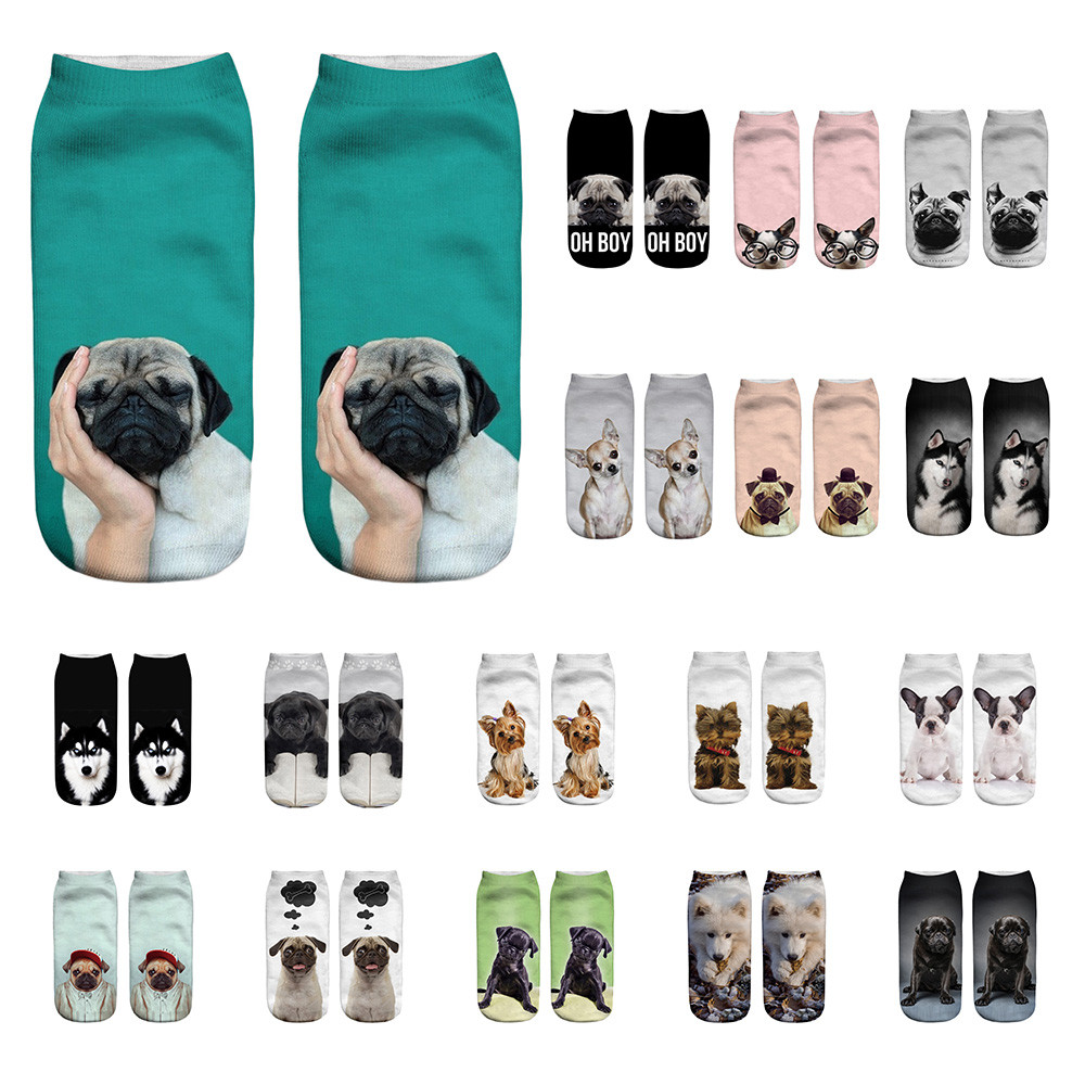 Popular Funny Unisex Short   Socks   Harajuku Cute 3D Dog Printed Breathable Cartoon Anklet   Socks   Hipster Skatebord Casual   Socks   #C7