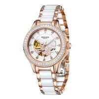 SOLLEN Rose Gold Woman's Automatic Watch Waterproof Ceramic Diamond Women Watches Luxury Famous Brand Mechanical Ladies Watch