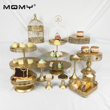 13pcs Gold Wedding Decoration With Crystal 3 tier metal Cake Stand