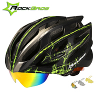 Rockbros Cycling Helmet With Goggles Casco Ciclismo Bicycle Helmet 2018 3 Lens Ultralight Windproof Road MTB