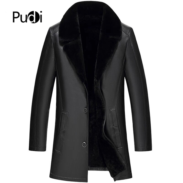 PUDI MT8582018 Men new fashion real sheep leather jackets with hood collar fall winter casual outwear