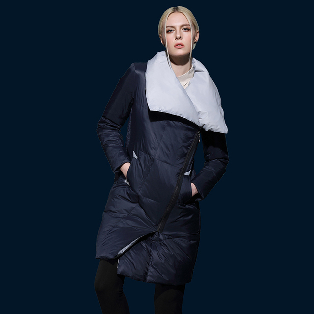 Cheap Long Solid Blue Coat Cotton Stand Winter Jacket Women Parkas Snow Warm Female Clothing Zipper Pockets 2016 New Arrival Plus Size