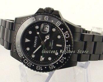 40mm Parnis Ceramic Bezel Black Dial GMT Style PVD Case Automatic Men's Watch