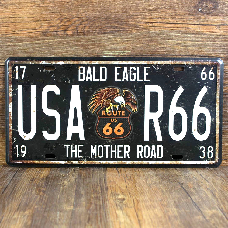 USA Route 66 the mother road license plate Vintage Garage poster metal tin signs wall decor House cafe Bar 15*30cm free shipping
