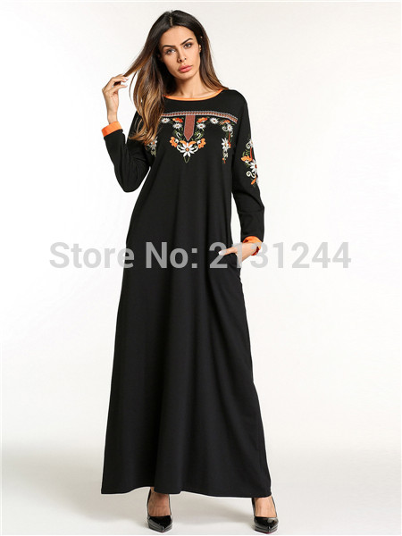 Women Muslim Dress O Neck Long Sleeve Plus Size Embroidery Floral Abaya Dubai Black Ropa Para Muslmanas Ropa Arabe Islamica