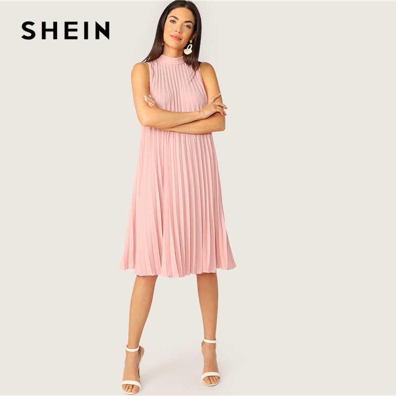 SHEIN розовый макет шеи с вырезами галстук назад плиссированная Туника вечерние миди летнее платье женское без рукавов прямое однотонное милое платье