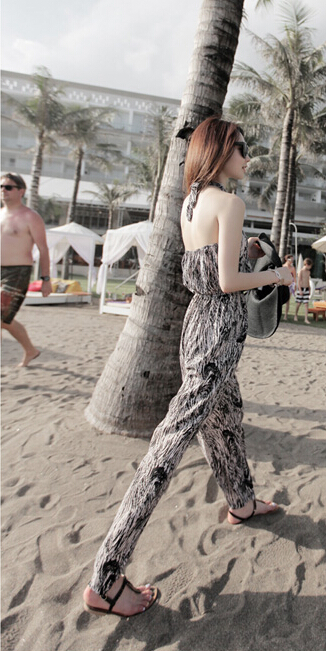 Free Shipping High Quality Hot Sale Korean Leisure Leopard Halter Neck Woman Chiffon Jumpsuit 3
