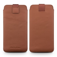 For Xiaomi Mi 5s Pouches & Bags QIALINO Genuine Leather Pouch Accessory for Xiaomi mi 5S/ 5S Plus, Size: 166 x 88mm – Brown