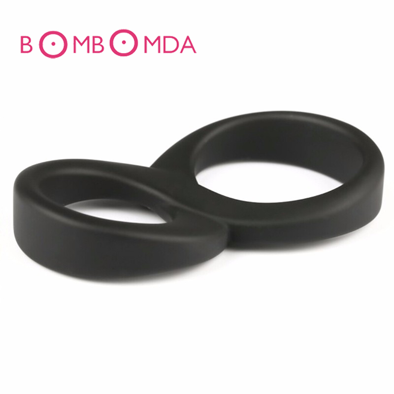 8 Double Penis Rings Silicone Time Delay Erection Cock Rings For Men Adult font b