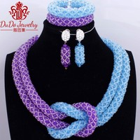 Two Colors African Wedding Necklace Beaded Costume Jewelry Set Of Beads For Women Dubai Nigerian Jewelry 2017 Hot New