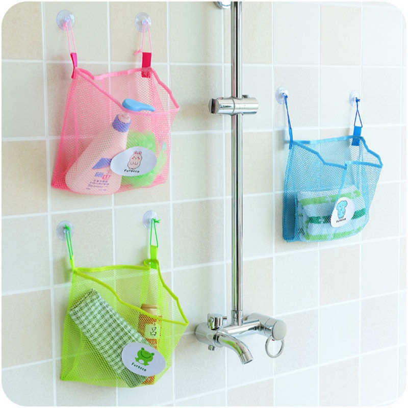 Creative Double Bag Hanging Storage Bag Suction Cup Hangable Bathroom Storage Mesh For Bathroom Home Sundries Storage