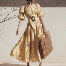 Banulin Runway Designer Puff Sleeve Elegant Deep V-neck Floral Print Button Resort Woman Midi Dress Beach Vocation Party