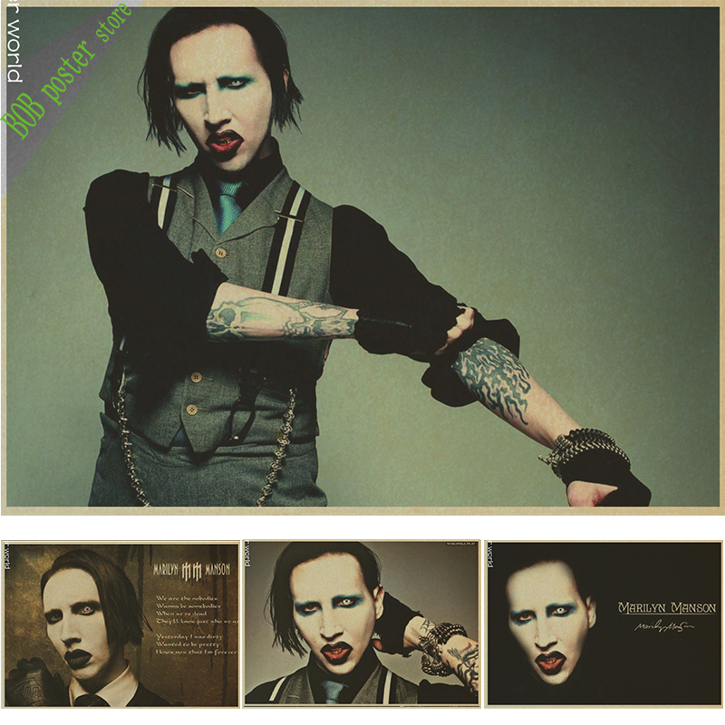 Vintage Poster Marilyn Manson Retro Rock Poster Wall Sticker House Living Room Art Wall Decoration Painting