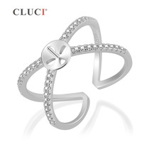 d43739e6d1 CLUCI Fashion Wedding 925 Sterling Silver Zirconia Cross Ring For Women X  Shape Ring Zirconia Engagement