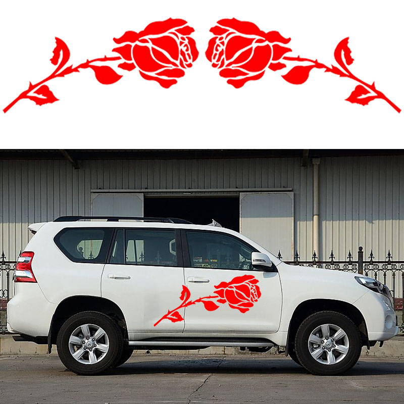 2x Romantic Rose Pattern Love Theme Car Sticker Motorhome Caravan Campervan SUV Kit Vinyl Decal Valentines Day car styling Jdm