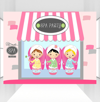 HUAYI customize kids Spa day party decor backdrop photophone background spa shop for teens girls sweet 16 party banner backdrop