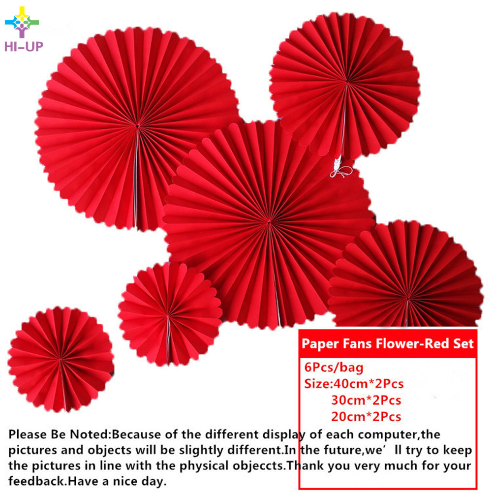 6pcs/lot Solid Color Red Cheap Paper Fans For Wedding Tissue Paper ...