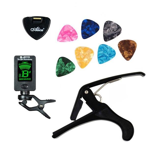 Ferramenta Kit Guitar Tuner + Capo + Suporte + 7 Picks Celluloid Palheta Caso Ajuste Mediador Capotraste Guitarra Peças Acessórios
