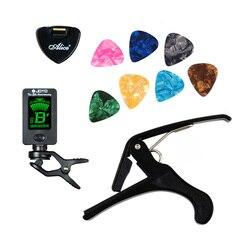 Kit de herramientas sintonizador de Guitarra + Capo + soporte de Plectrum + 7 selecciones de celuloide Tuning Capotraste mediador caso Guitarra piezas accesorios