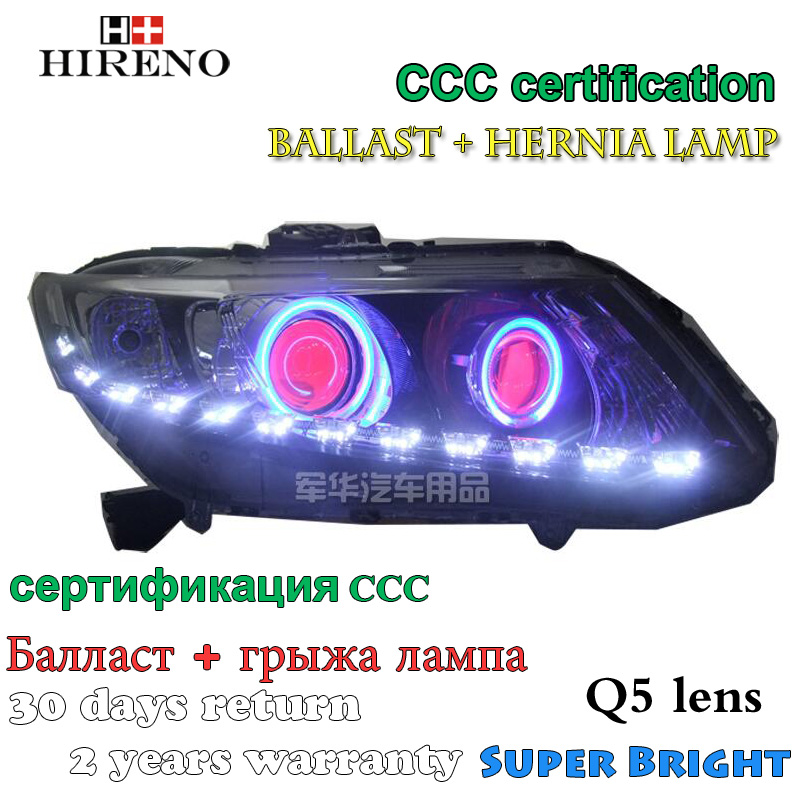 Hireno Modified Headlamp for Honda Civic 2012-2014 Headlight Assembly Car styling Angel Lens Beam HID Xenon 2 pcs hireno headlamp for cadillac xt5 2016 2018 headlight headlight assembly led drl angel lens double beam hid xenon 2pcs