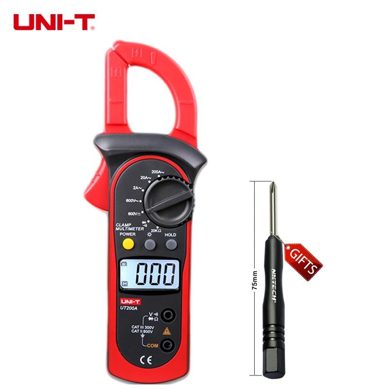 bestsav1 Store UNI-T UT200A Digital Clamp Multimeter AC Current AC/DC Voltage Resistance Tester
