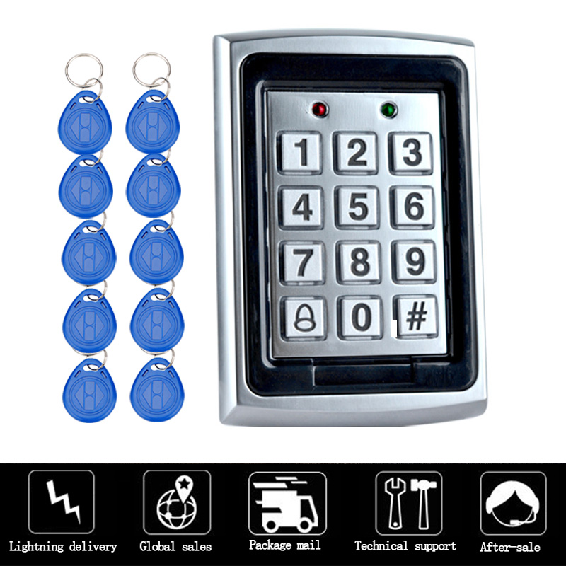 HTB1kEz9fRoHL1JjSZFwq6z6vpXa0 RFID Metal Access Control EM Card Reader Keypad with 10 EM4100 keyfobs waterproof protecter cover For Door Access Control System