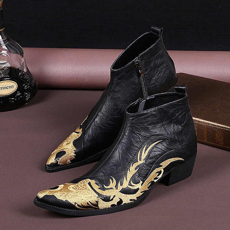 Mens Pointy Toe Embroidered Black Print Ankle Boots Show Side Zip Dress Wingtip Shoes Retro Genuine Leather Plus Size