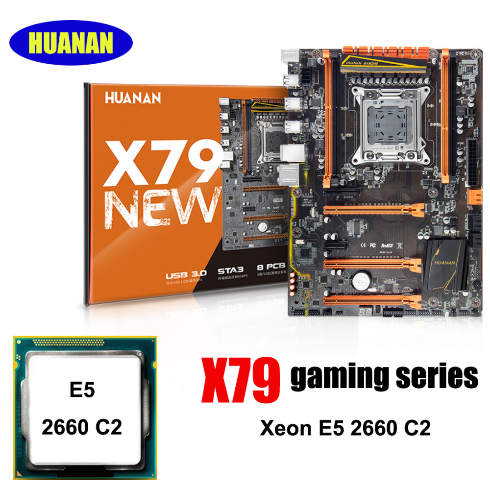 New arrival Brand HUANAN ZHI deluxe X79 LGA2011 motherboard with M.2 SSD slot discount motherboard CPU Intel Xeon E5 2660 SR0KK|motherboard xeon|x79 motherboard|motherboard xeon e5 - title=