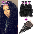Indian Virgin Hair Deep Wave With Closure 3 Bundles Human Hair Deep Curly With Closure Raw Indian Curly Hair With Closure