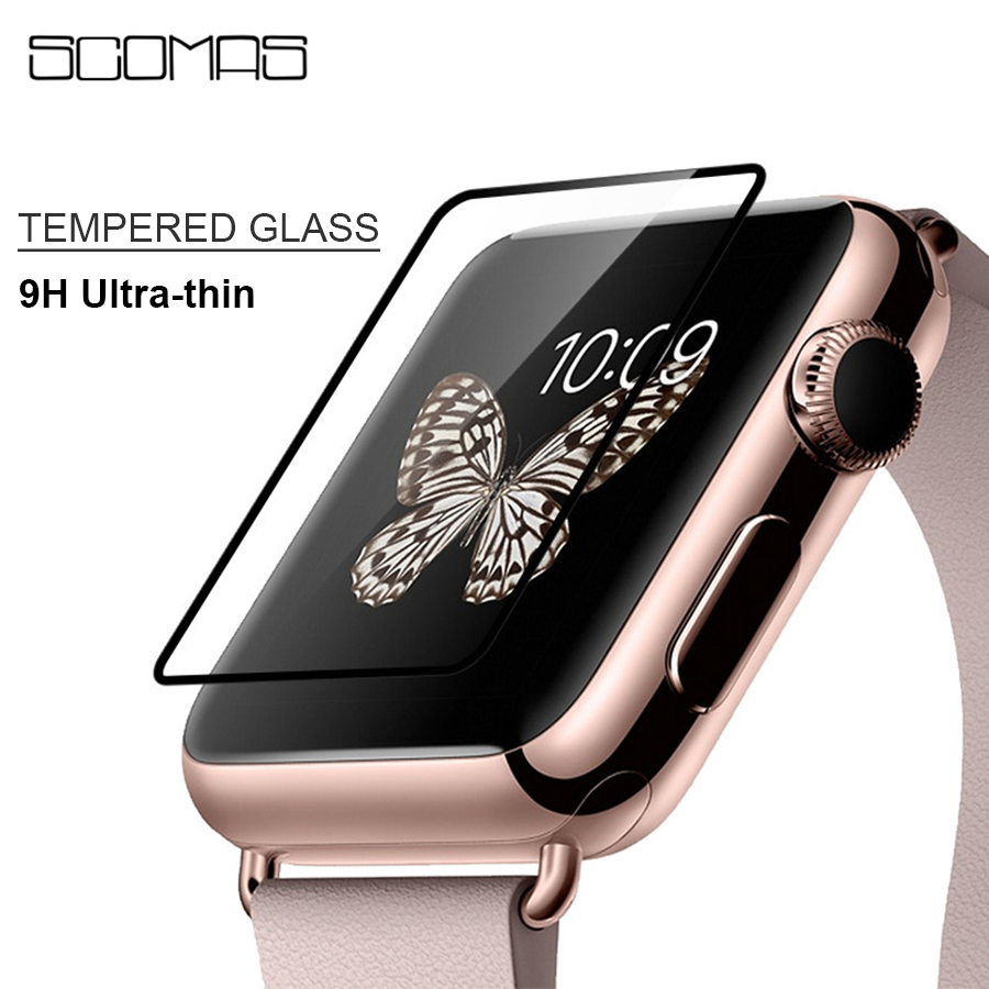 SCOMAS 9H Ultra-thin Tempered Glass Screen Protector For Apple Watch 42mm 38mm Series 1 2 3 Screen Protective Film 9h tempered glass for iphone x 8 4s 5 5s 5c se 6 6s plus 7 plus screen protector protective guard film case cover clean kits
