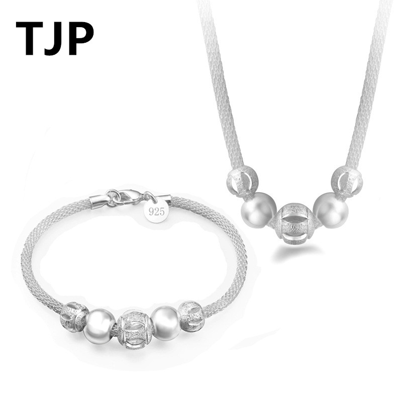 TJP Fashion 925 Sterling Silver Necklaces Jewelry Sets For Women Party Trendy Popcorn Chain Bracelets For Girl Engagement Hot