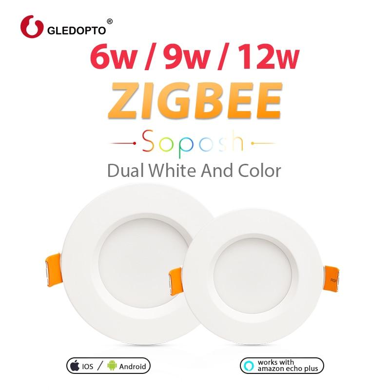 GLEDOPTO ZIGBEE smart home 6W 9W 12W LED Downlight work with Amazon plus SmartThings rgb cct