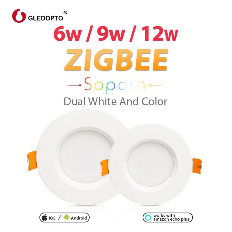 Gledopto zigbee casa inteligente 6 w/9 w/12 w led trabalho downlight com amazon plus smartthings rgb cct luz AC100-240V cor branca dupla
