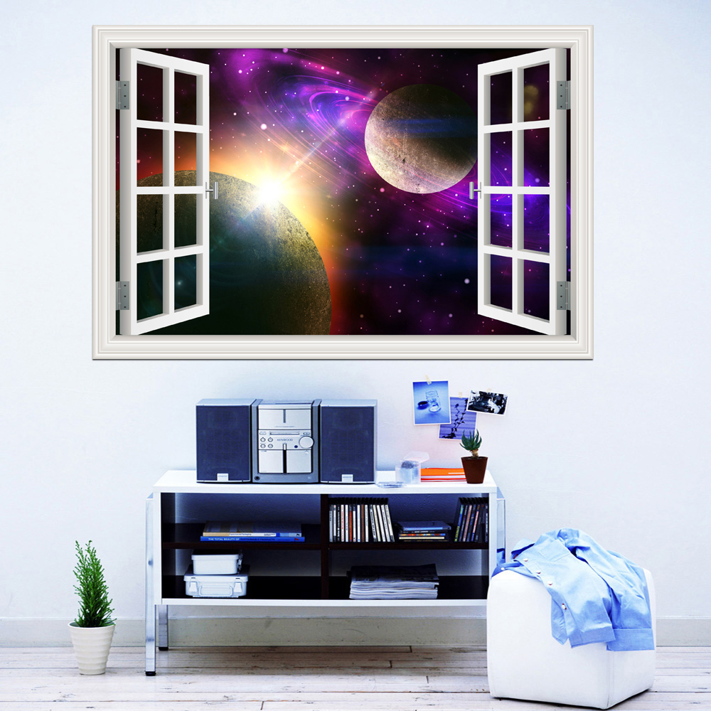 3d Window View Planet Galaxy Wall Sticker Removable Outer Space Wall Decals Stickers Home Decor