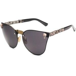 NEW Skull Women Cat Eye Sunglasses Vintage Oversized Rimless Mirror Cateye Eyewear(China)