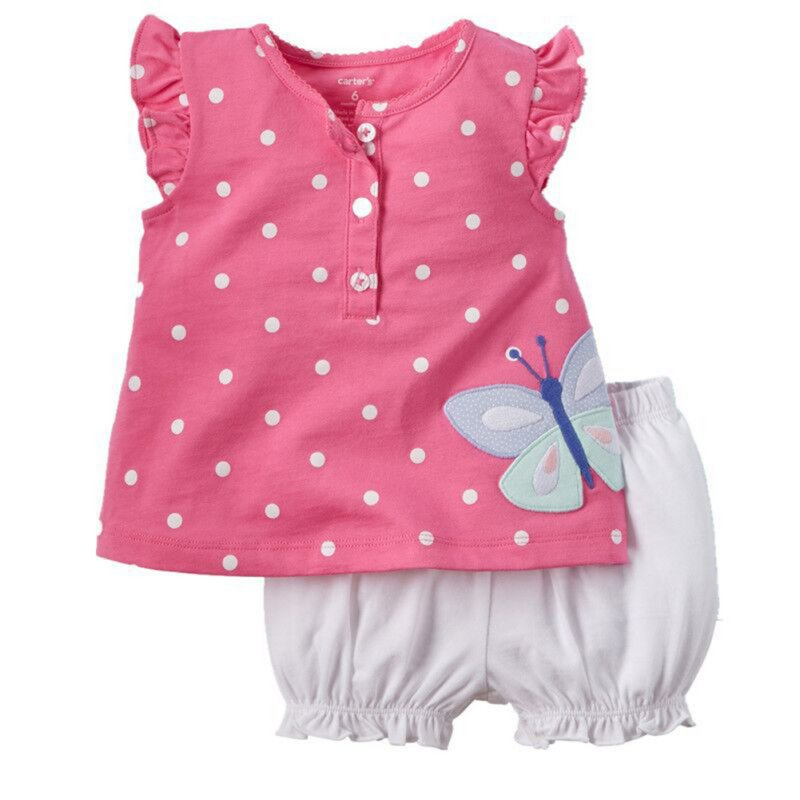 2PCS  Suit,  Baby Kids Girls Outfit Clothes T-shirt Dot Tops+Bloomers Pants Trousers 2016 hot selling baby kids girls one piece sleeveless heart dots bib playsuit jumpsuit t shirt pants outfit clothes 2 7y