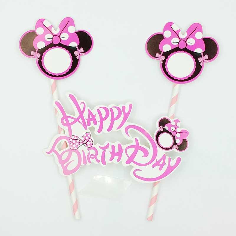 Minnie Mickey Mouse Feliz Cumpleaños Pastel Topper Picos Fiesta Decoración Suministros Pastel Insertar Tarjeta Banderas De Paja Niños Niño Niña Regalo