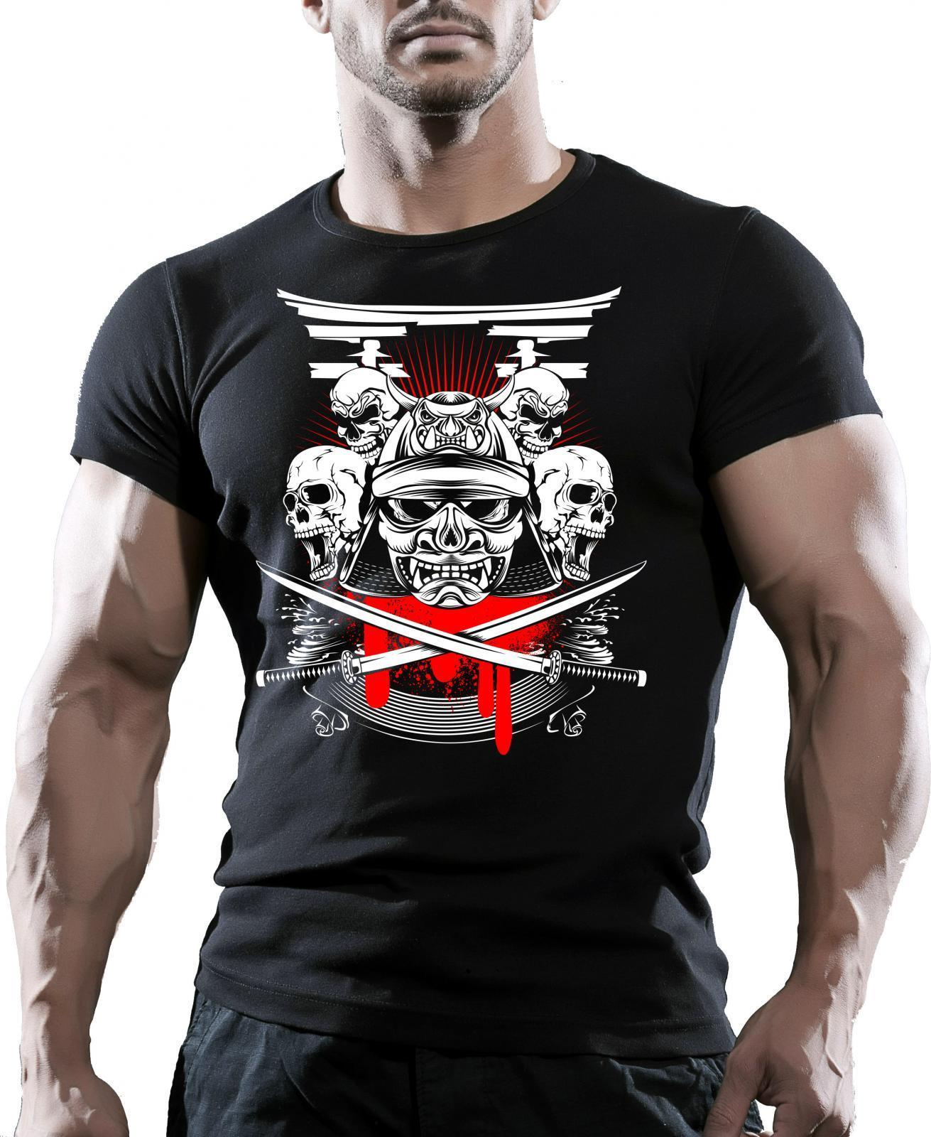 SAMURAI TESTA Uomo Palestra Bodybuilding T-Shirt Workout Vestiti Allenamento Harajuku Co ...