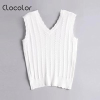 Clocolor Women Tank Tops Sleeveless Knitted Short 2018 New V Neck Summer Casual Slim Solid Sexy