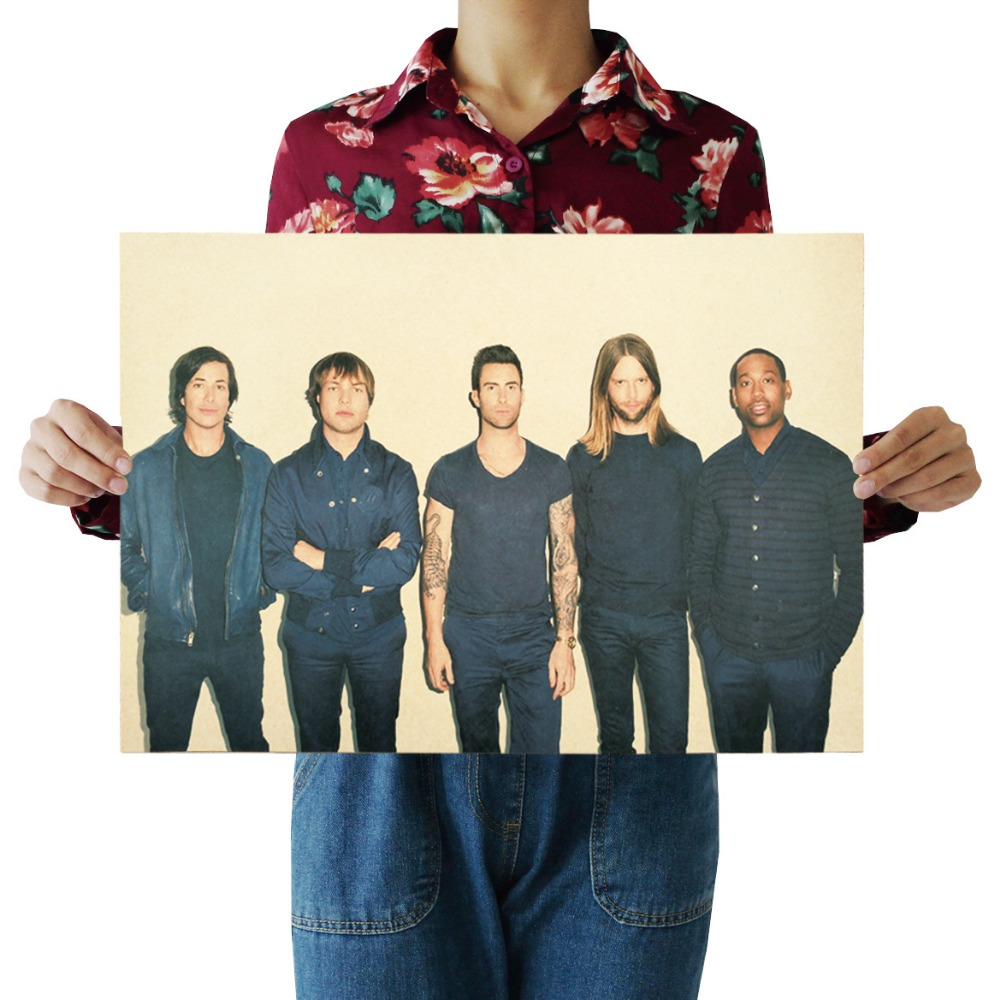 W , Maroon 5 / Famous America rock band /classic rock music /kraft paper/bar poster/Retro Poster/decorative painting 51x35.5cm