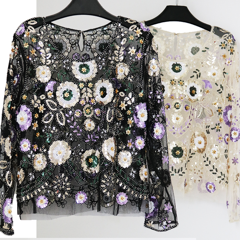 2019 Female Fashion Tops Sexy Party Beaded Sequined Blouses European Runway Style Long Sleeves Shiny Shirts Halloween Costumes