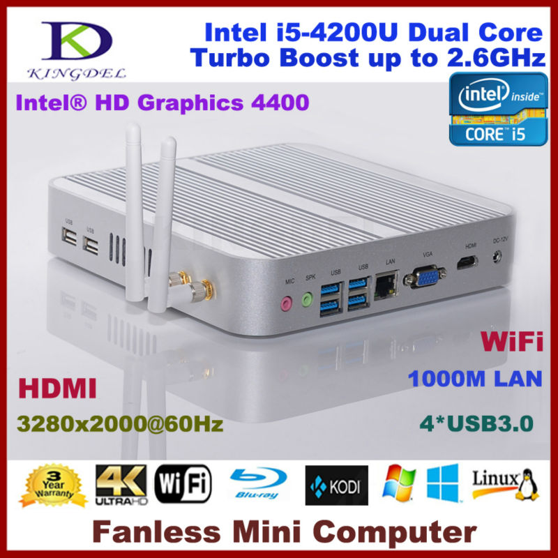 Free Shipping Fanless Micro Computer Mini PC 4GB RAM/500GB HDD,Intel I5-4200U Dual Core Quad Threads, Wifi, Win 7/8/Linux