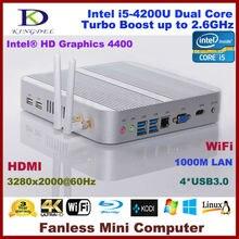Бесплатная доставка без вентилятора микро компьютер мини-ПК 4 ГБ Оперативная память/500 ГБ HDD, Intel i5-4200U Dual Core Quad темы, Wi-Fi, Win 7/8/Linux