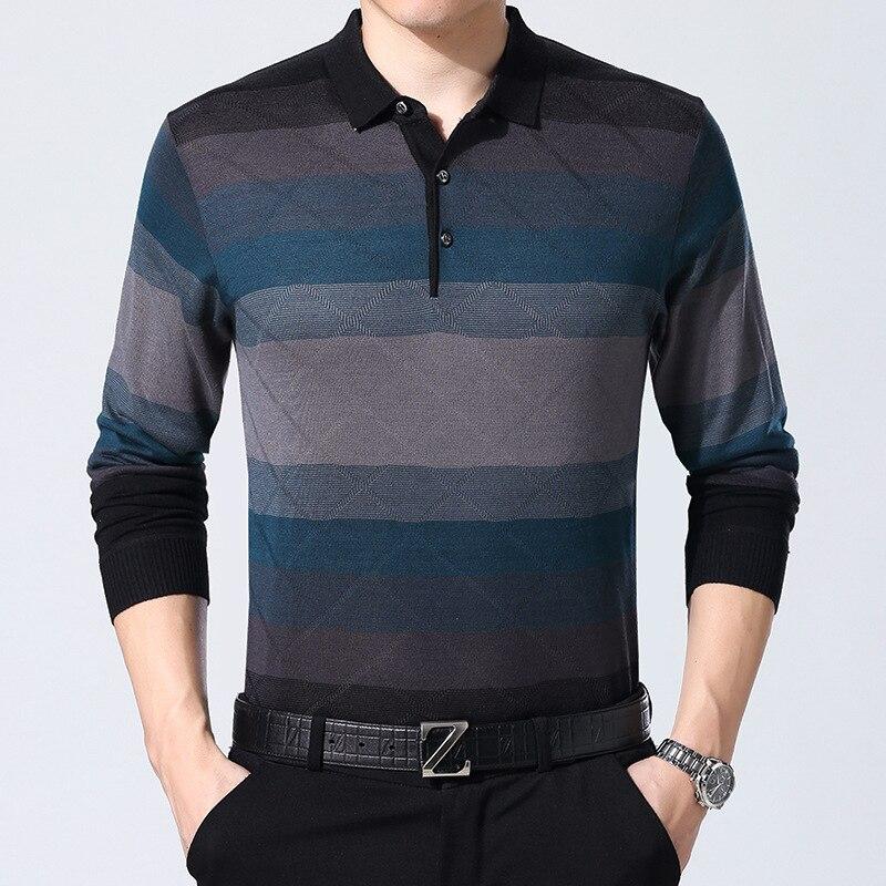 f2b3ad786c Melhor Camisa Pólo Listrada Homens Modas ARCSINX Outono de Manga Longa Polos  dos homens Malhas Casual Mens Camisas Pólo Marcas Homem Polo jersey Barato  ...