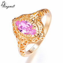 lingmei New Marquise Cut Red & Pink Cubic Zirconia Yellow Gold Color Ring Size 6 7 8 9 Attractive Popular Women Jewelry Gift