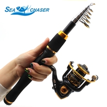 2018 NEW 1.65M spinning Fishing Rod Carbon Fish Spinning Telescopic Pole and 12BB Reel carbon rod
