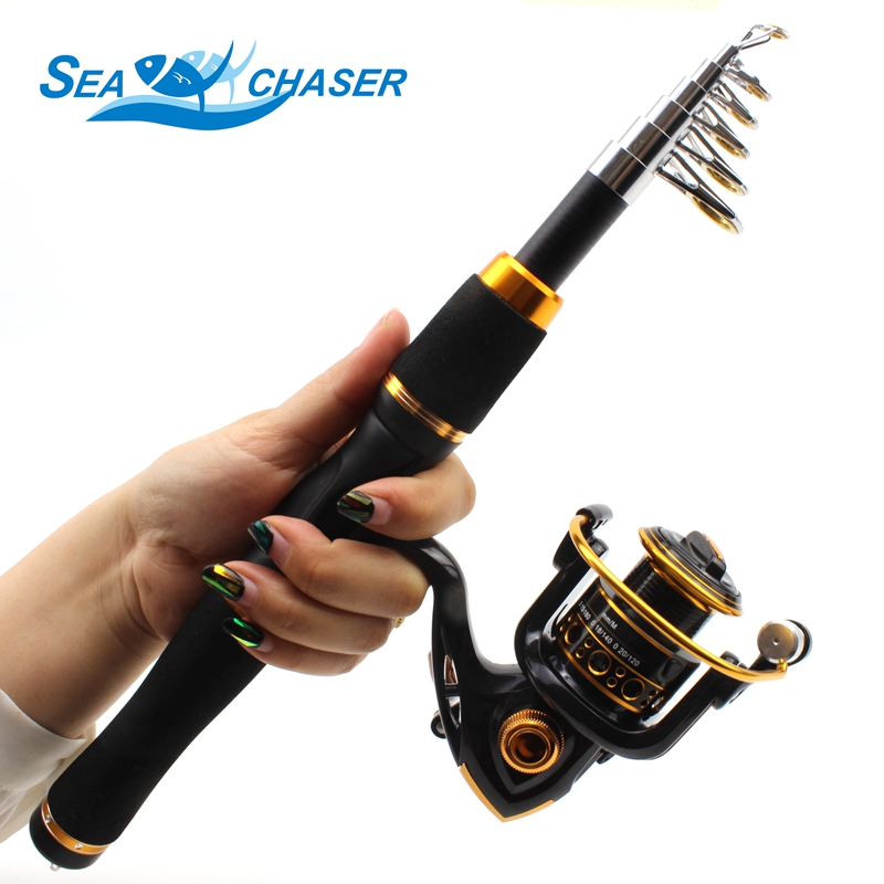 2018 NEW 1.65M spinning Fishing Rod Carbon Fish Spinning Telescopic Pole and 12BB spinning Fishing Reel carbon rod