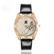 Ms Butterfly Leather Band Watches Elegant Design Women's Gold Dial Inlay Crystal Analog Quartz Wrist Watch Womens Clock Aug22