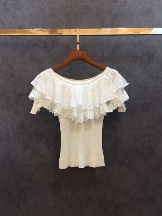 2018 early autumn new womens clothing wild cramped ruffled word shoulder knit shirt 501